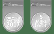 Auszeichnung: Auszeichnung: In 2017 haben wir inzwischen das 5. Jahr in Folge die Auszeichnung Premium Partner erhalten!