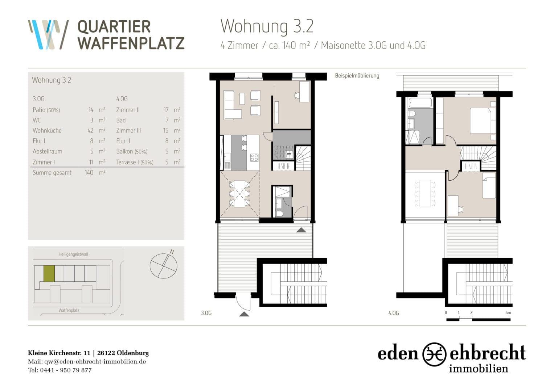 Grundriss wohnung 140 qm 4 zimmer ihr traumhaus ideen for Grundriss traumhaus