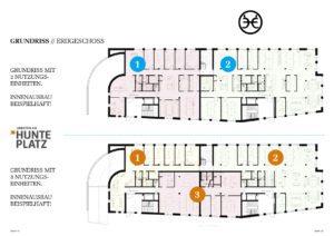 Hunteplatz, Arbeiten am Hunteplatz, Gewerbeflächen, Büroflächen, Praxisflächen, Ladenflächen, Büro, Praxis, Kanzlei, Alter Stadthafen, Oldenburg, Neubau, Immobilienmakler, Makler, Oldenburg