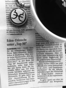 Top 50 Immobilienmakler Deutschland, Auszeichnung, Ausgezeichnet, BVFI, Proven Expert, Immobilienmakler, Makler, Oldenburg, Deutschland, NWZ, Nordwest Zeitung