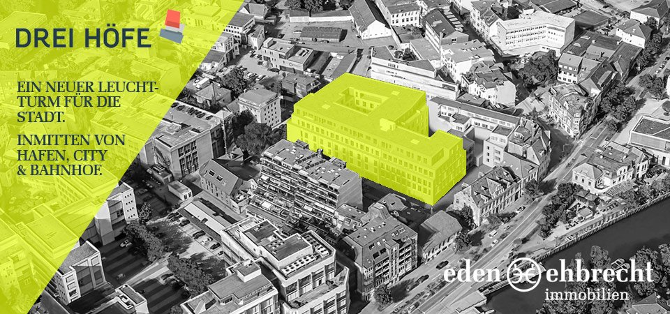 Drei Höfe, Neubau, Oldenburg, Luftaufnahme mit Visualisierung Baukörper
