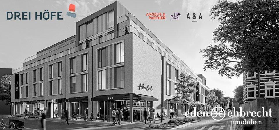 Drei Höfe, Neubau, Oldenburg, Visualisierung, schwarz-weiß