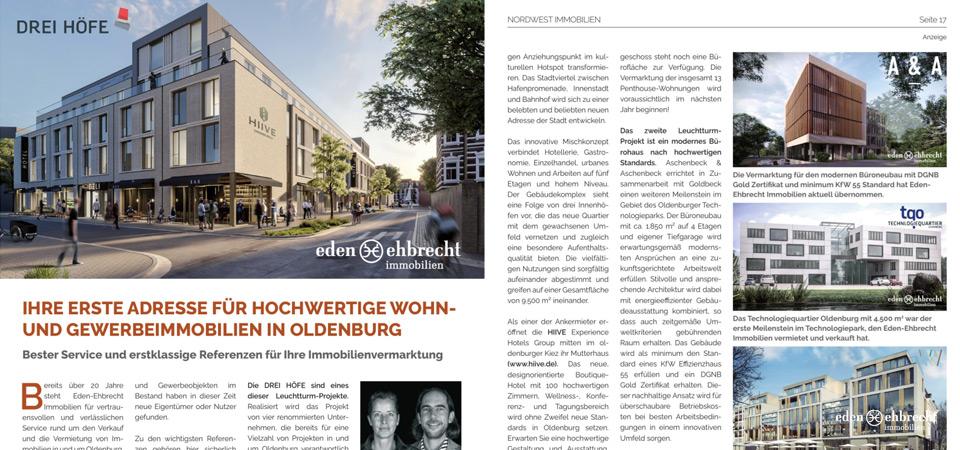 NWZ, Nordwest Zeitung; Bericht, Oldenburgs erste Adresse für hochwertige Immobilien